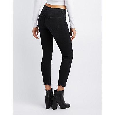 Refuge O-Ring Frayed Hem Skinny Jeans