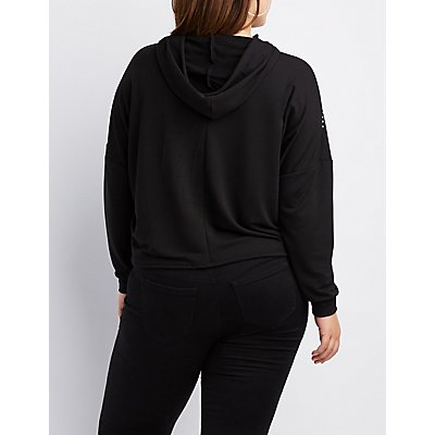 Plus Size Embellished Cropped Hoodie