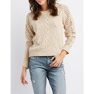 Faux Pearl-Trim Mixed Knit Sweater