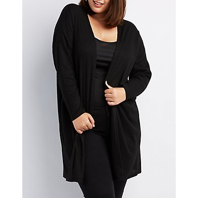 Plus Size Floral Patch Ribbed Open-Front Cardigan