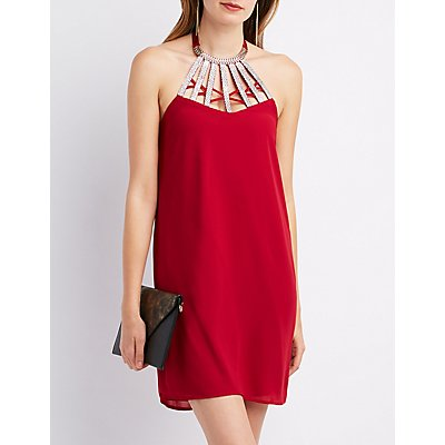Embellished Neck Shift Dress