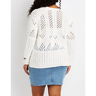 Plus Size Destroyed Open Knit Tassel-Trim Sweater