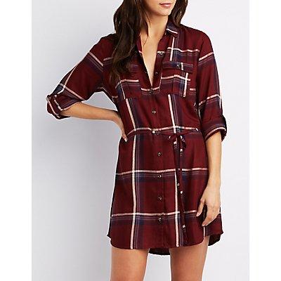 Plaid Button-Up Shirt Dress