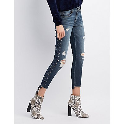 Refuge Destroyed Lace-Up Detail Skinny Jeans