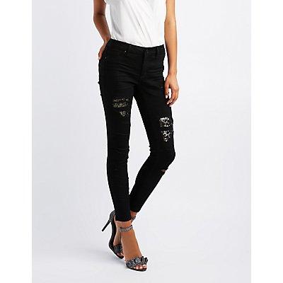 Refuge Sequin-Inset Destroyed Skinny Jeans