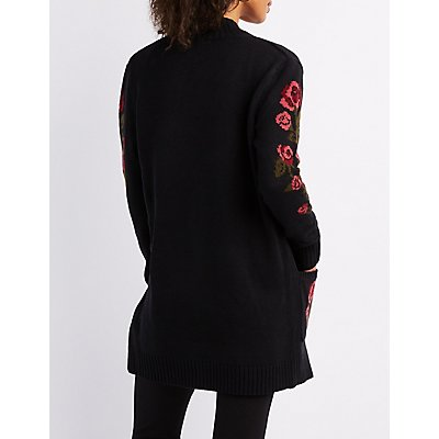 Open Front Floral Detail Cardigan