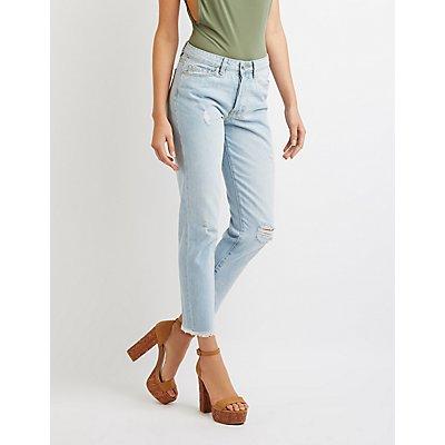 Refuge Hi-Rise Frayed Hem Straight Jeans