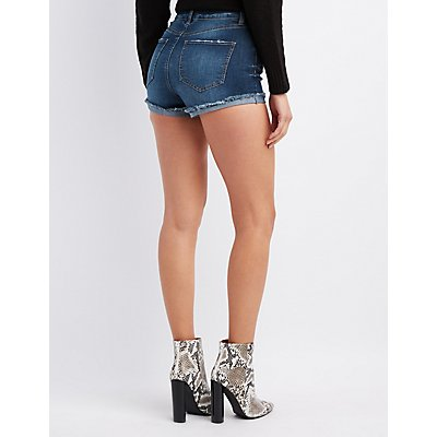 Refuge Destroyed Hi-Rise Denim Shorts