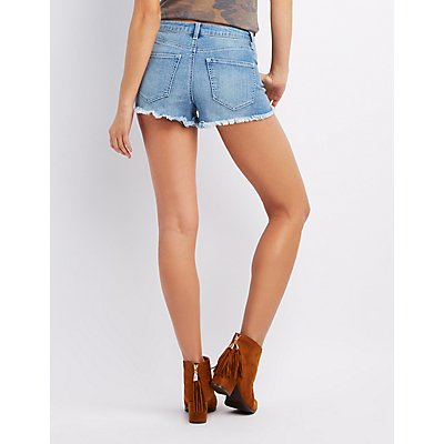 Refuge Destroyed Lace-Up Cheeky Shorts