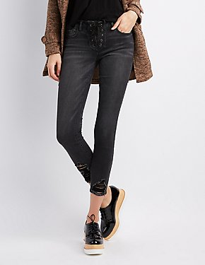 Refuge Destroyed Lace-Up Skinny Jeans