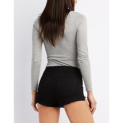 Refuge Hi-Rise Zip-Up Cut-Off Shorts