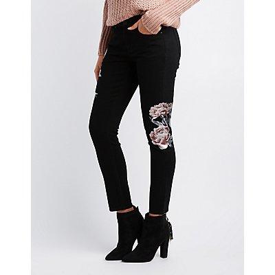 Refuge Floral-Detail Skinny Jeans