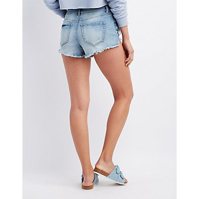 Refuge Lace-Up H-Rise Denim Shorts
