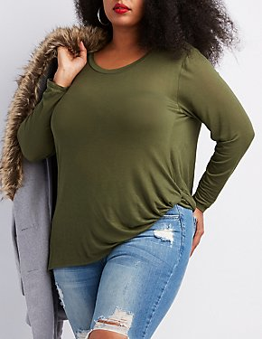 Plus Size Twist-Front Tunic