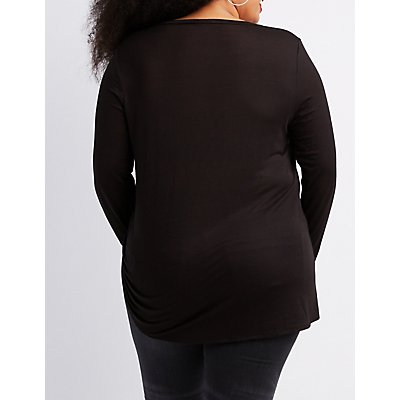 Plus Size Twist-Front Tunic