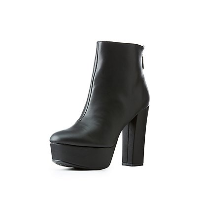 Qupid Platform Ankle Booties