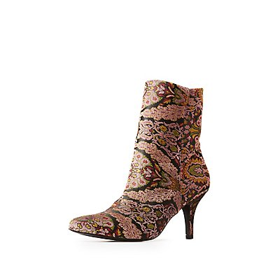 Qupid Brocade Pointed Toe Booties