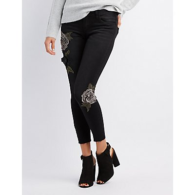 Floral Embroidered Mid-Rise Jeans