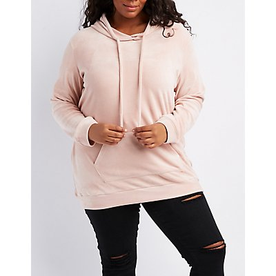 Plus Size Velour Hooded Tunic Sweatshirt