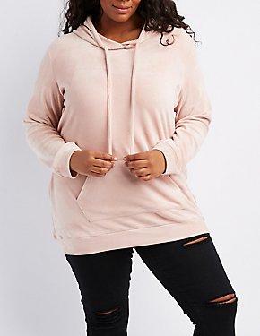 Plus Size Velour Hooded Tunic Sweatshirt