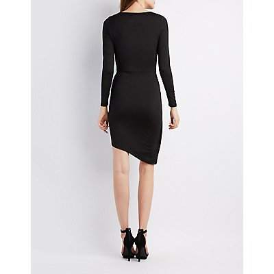 Asymmetrical Surplice Bodycon Dress