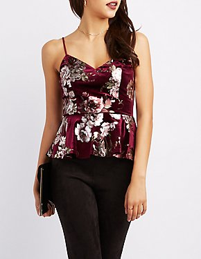 Metallic Floral Velvet Peplum Top