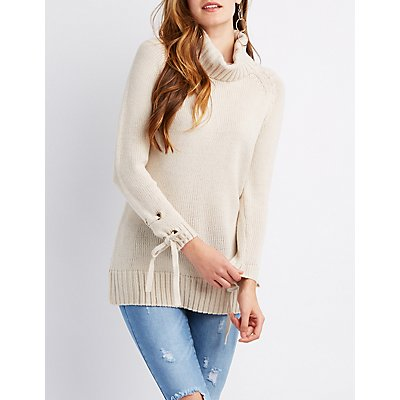 Lace-Up Turtle Neck Sweater