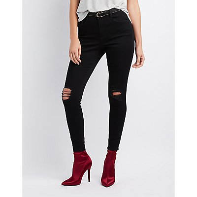 Refuge Hi Rise Skinny Destroyed Jeans