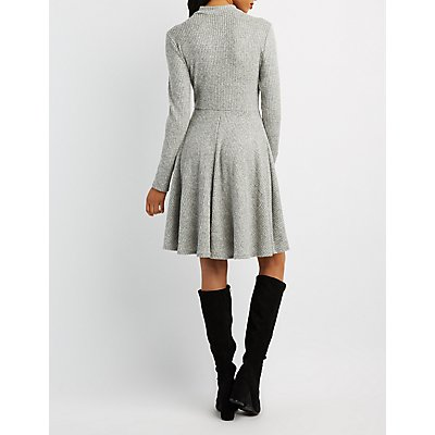 Waffle Knit Mock Neck Skater Sweater Dress