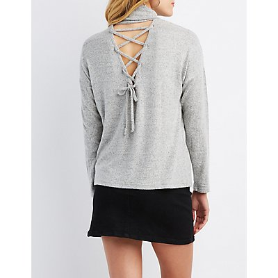 Brushed Turtleneck Cut-Out Sweater