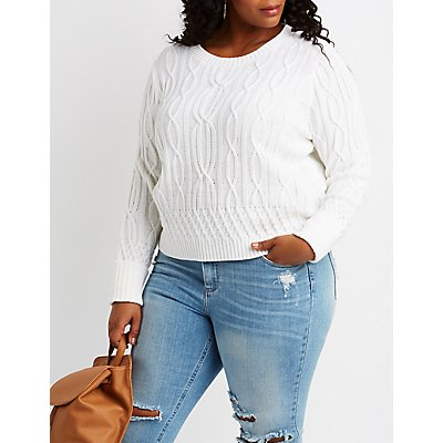 Plus Size Cable Knit Pullover Sweater