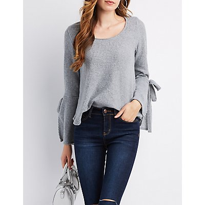Waffle Knit Tied Bell Sleeve Top