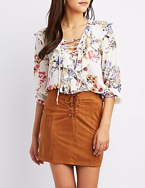 Floral Ruffle Lace-Up Blouse