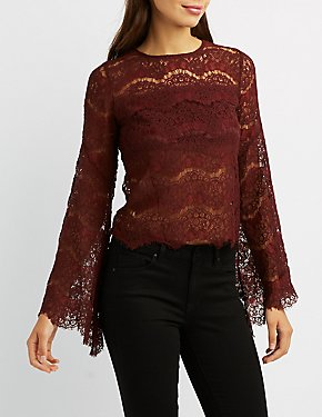 Eyelash Lace Bell Sleeve Top