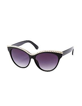Crystal Embellished Oversized Cateye Sunglasses