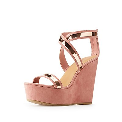 Bamboo Metallic Strap Wedge Sandals