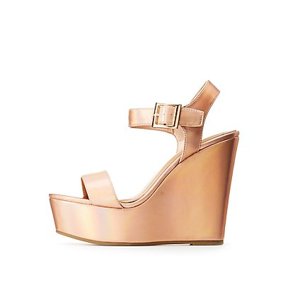 Bamboo Metallic Wedge Sandals