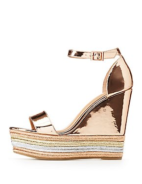 Bamboo Metallic Ankle Strap Wedge Sandals