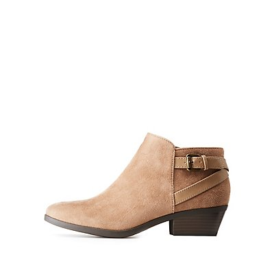 Suede Belted Ankle Booties