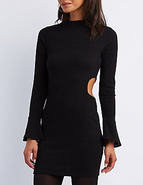 Ribbed Cut-Out Bodycon Dress