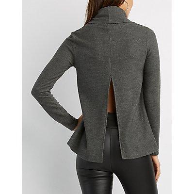 Floral Embroidered Cowl Neck Split-Back Sweater