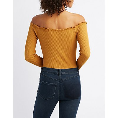 Lettuce-Trim Off-The-Shoulder Bodysuit
