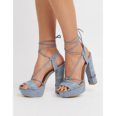 Lace-Up Ankle Strap Platform Sandals