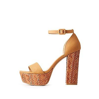 Woven Ankle Strap Platform Sandals