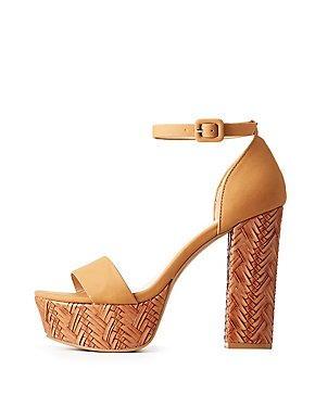 Woven Two-Piece Platform Sandals