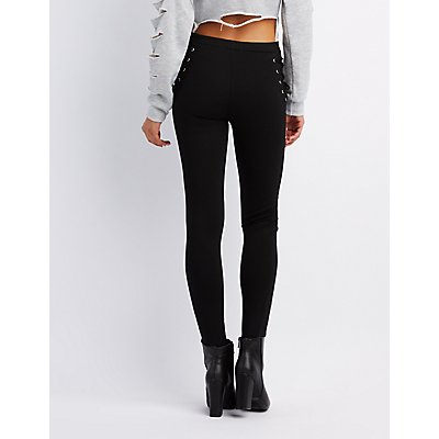 Ponte Lace Up High-Rise Leggings