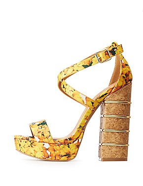 Floral Strappy Peep Toe Platform Sandals