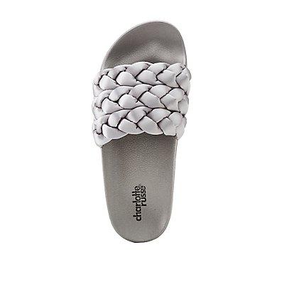 Satin Braided Slide Sandals