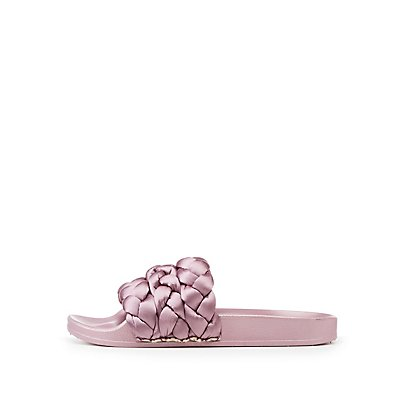 Satin Braided Slide Sandals