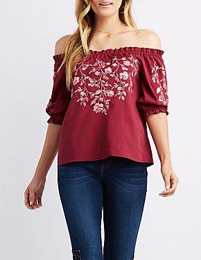 Floral Embroidered Off-The-Shoulder Top